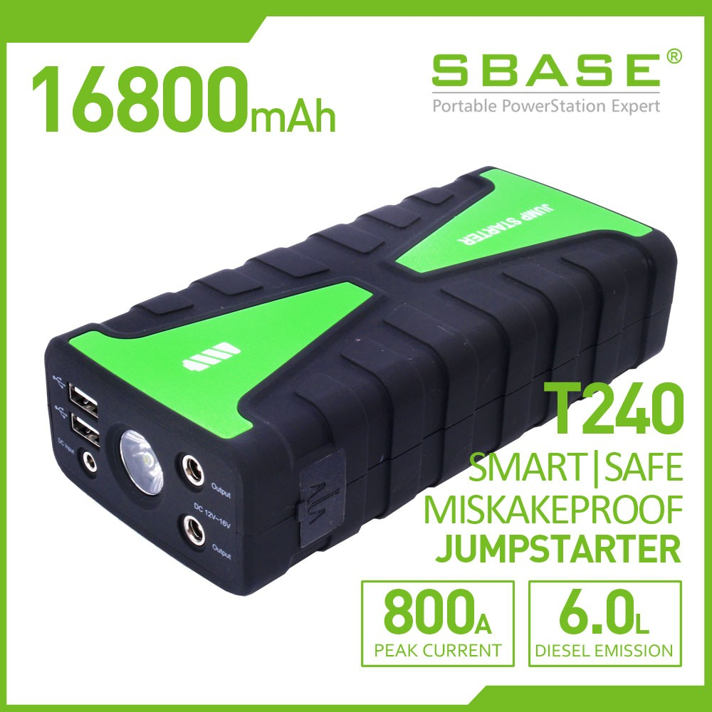 All in One 16800mAh mini car jumpstarter,800A peak,mistake proof, 180W DC tool power
