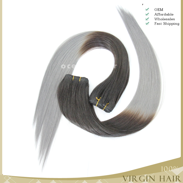 wholesale Brazilian hair silver grey human hair extension