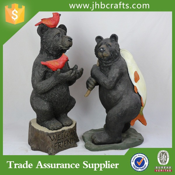 Outdoor Garden Black Bear Decoration Statue