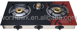 Tempered Glass Table Top Gas Stove With 3 Burners