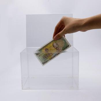 Acrylic clear donation box stand/medium donation box for charities