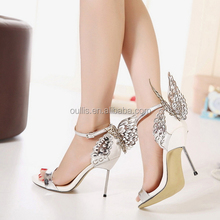 2015 latest design gold butterfly stilletto ladies party shoes PE3799