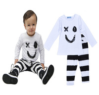 Baby Boy Clothes Set Baby Costume 2016 Spring Cartoon Smile T Shirt + Striped Pants 2pieces Suits For Kids Girls Clothing Set