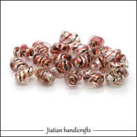 8*12mm lampwork pink glass silver foil beads wholesale for jewelry making