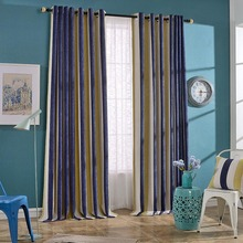 Luxury Designer Striped Chenille Drapes Blackout Grommet Curtains for Living Room/Bedroom/Cafe