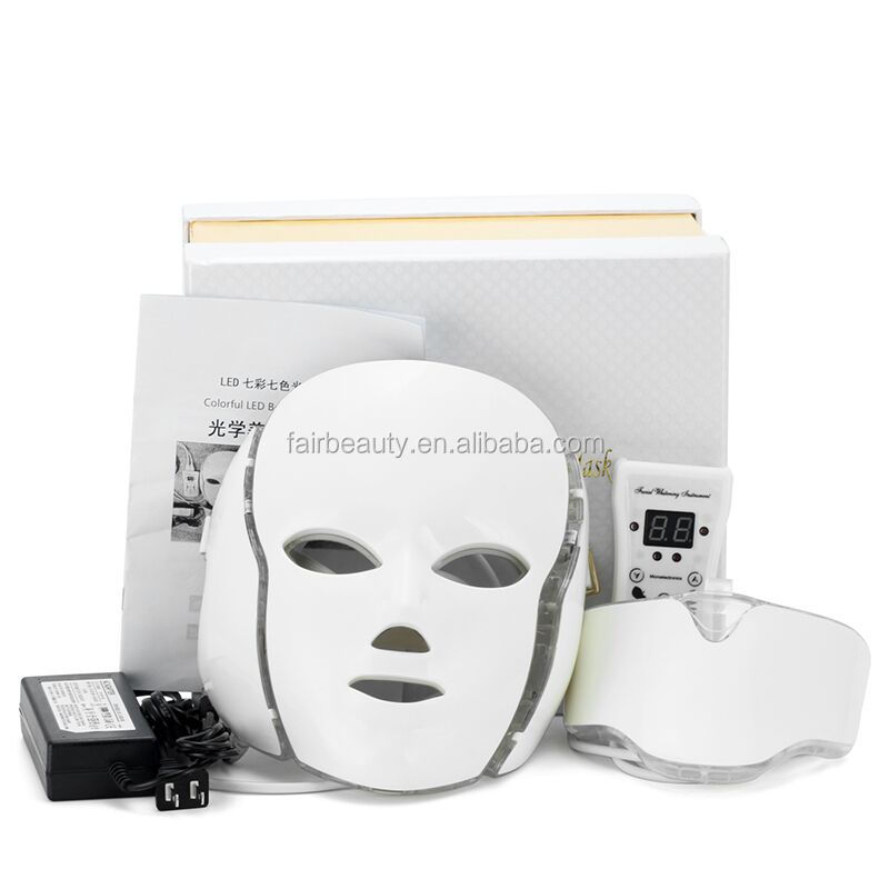 Wholesale 7 colors <strong>LED</strong> light therapy mask with neck / PDT <strong>LED</strong> light therapy Spa use facial whitening <strong>LED</strong> mask