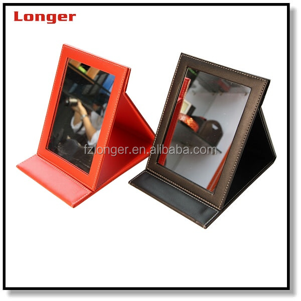 Antique fine foldable Pu Leather Framed Mirror