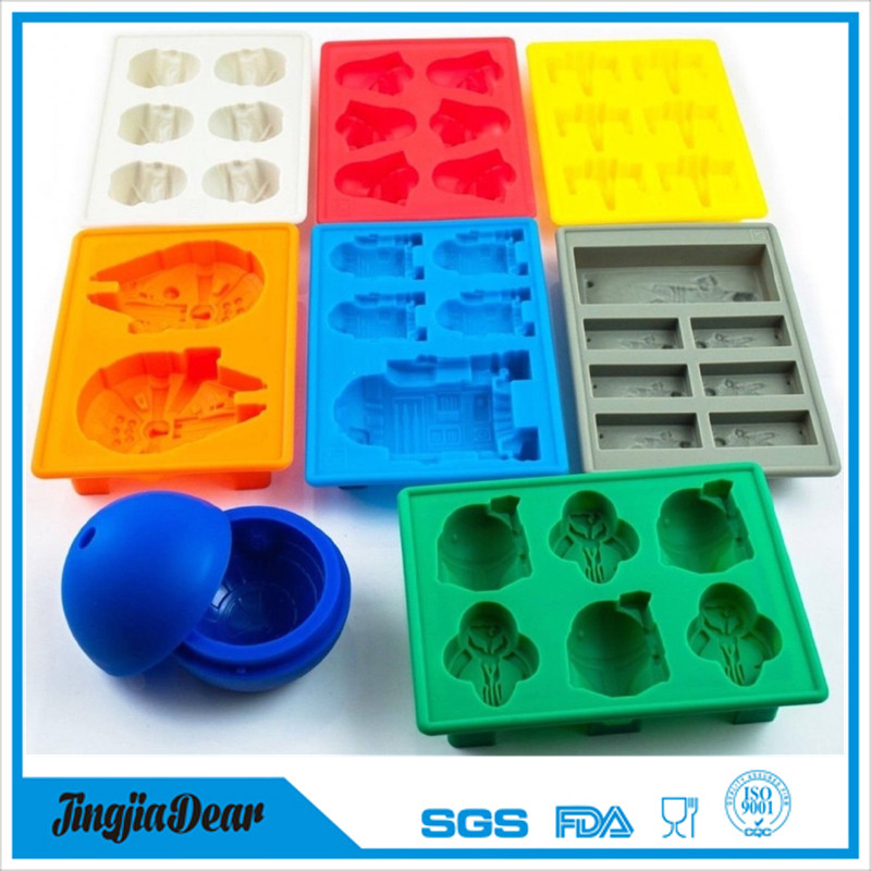 New arrival 8 pack star ball wars large silicone ice cube tray