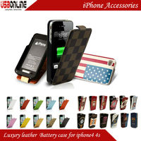 1450 mAh Colorful Luxury Leather Battery Case for iphone 4 4s with MFI