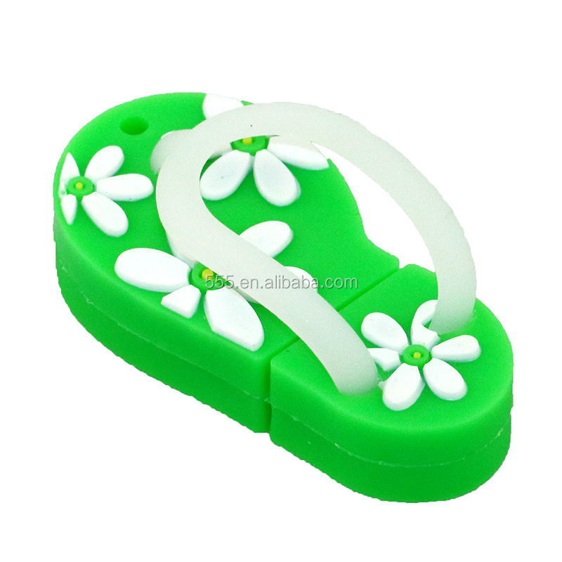 Shenzhen PVC cute flower flip flop shoes usb flash drive 8gb for promotion