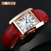 hot popular japan movt ladies watch square time clock leather mature
