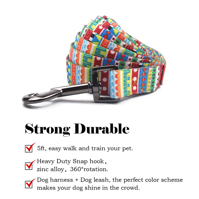 Soft polyester neck lead adjustable pet collars leashes with custom brand name design
