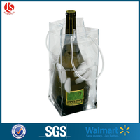 High Quality Pvc Material Wine Cooler Bag,Durable Plastic Ice Bag For Red Wine Or Beer