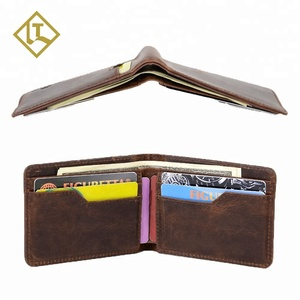OEM/ODM RFID blocking card holder handmade slim ultra thin small money clip bifold genuine leather full grain rfid wallet