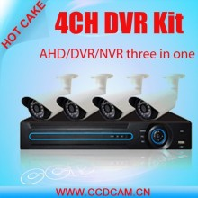 Hot cake!! security product H.264 cctv 4ch dvr kit ahd/nvr/dvr three in one function with 4 lily camera kit