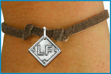 Old fashioned LF letter charms leather bracelet