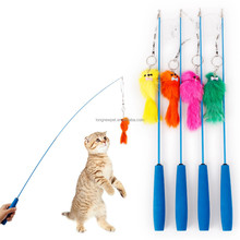 Retractable Plush Mouse Fishing Cat Teaser Stick Cat Toys Interactive