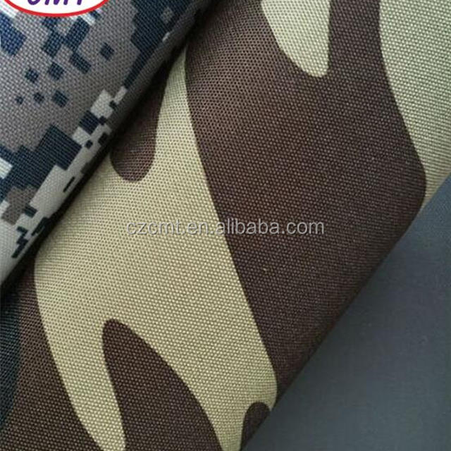 Changzhou Cement PVC coated 600D polyester woodland camouflage printed oxford fabric for military bags