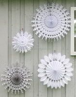 white Promotional snowflake tissue paper fan for party wedding decorations