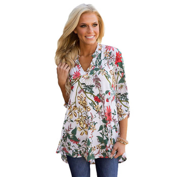 Women Casual Neck Loose Floral Print Tunic Blouses Top Women