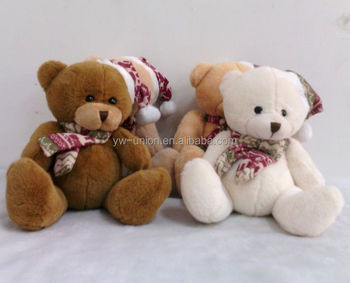 4 colors assorted plush teddy bear toys for Christmas day