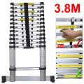 3.8m Anti-pinch Extendable Foldable Telescopic Aluminium Ladders