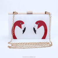 2016 top beauty fashionalFlamingos printed acrylic box clutch