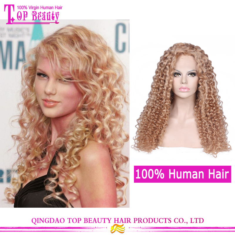 180% Density Blonde Curly Wigs Human Hair Afro Lace Front Wigs Kinky Curly For White Women