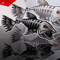 Custom Self Adhesive Vinyl Labels Custom Mad Fish Skeleton Fishing Monster Car Window PET Decal Sticker Funny Car Stickers