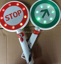 LED signs arrow hand held go stop traffic flashing light signs