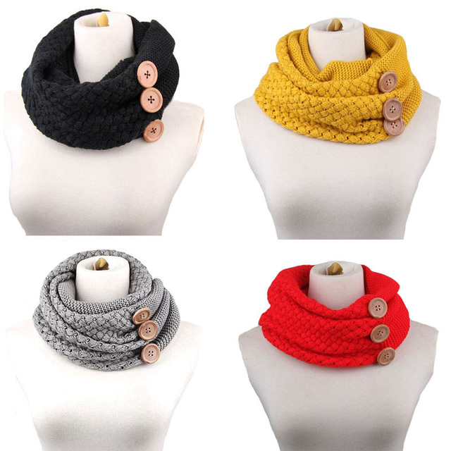Warm Winter Thick Scarf Knitting Wool Two-circles Neck Gaiter With Button