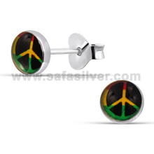 Peace Sign Logo Ear Stud925 Sterling Silver Solid Piercing Luxury Women Children Tiny Earring Wholesale Cheap Price Jewellery
