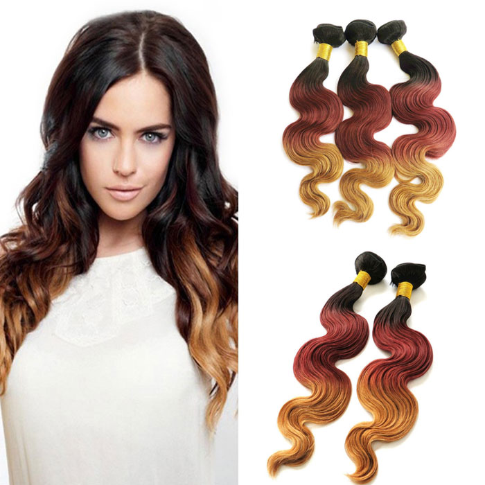 Wholesale Indian Virgin Hair Three Tone Ombre Hair Extension #1B/3/27 Body Wave