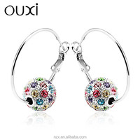 OUXI fashion gold crystal jhumka huggie earring 20798-1