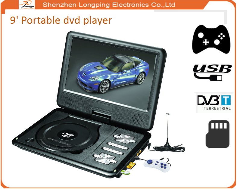 nice quality home VIDEO DVD/VCD/EVD Players 9 Inch Portable DVD Player With 18650 Long-life li Battery