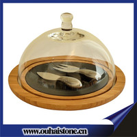 Round cheese cake fruits stone plates natural house dinnerware slate wood plate