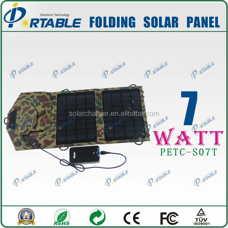 7W portable solar panel battery charger waterproof solar charger