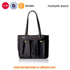New Style Low Price Fashion Common Outdoor Shopping Black Nylon Tote Handbag with Leather Handle