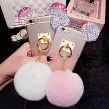 For iPhone 7 5s 6 6s plus samsung s6/s7 s6edge/s7edge Note5 Luxury Bling Rhinestone Mickey Ear Fur Ball Cell Phone Case Cover