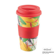 Eco-friendly Food Grade Coffee Cup Bamboo Fiber Mug with Lid