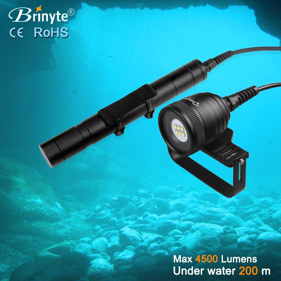 diving flashlight DIV10W over 4500 high lumens 120 beam angle video flashlight for shoot