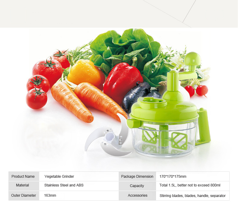 Vegetable and Fruit Grinder with S/S Cutters