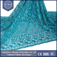 2016 party decoration plain teal cord lace wedding fabric china market dubai all over embroidery design african guipure lace