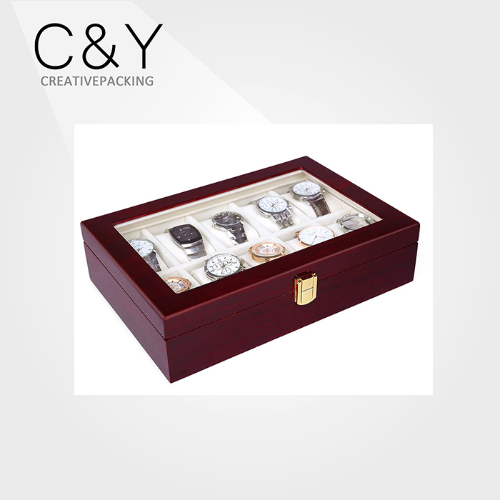 10 Slots Cherry Wood Watch Display Case