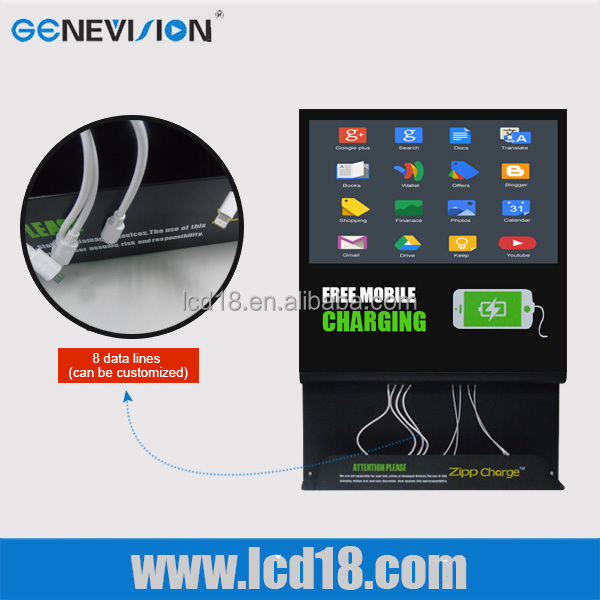 desktop charging station LCD player digital advertising and mobile phone charging station for restaurant