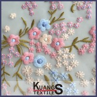 lace embroidery fabric stone
