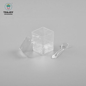 Customized 180ml pudding clear square 2oz transparent plastic dessert cup with spoon