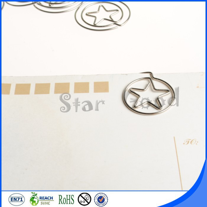 Custom creative souvenir crafts silver star paper clips