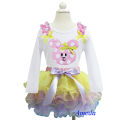 Easter Yellow Pink Lavender Petal Pettiskirt Tutu Polka Dots Bunny White Long Sleeves Top 1-7Y