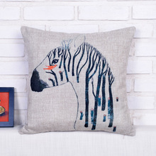 Hot Sale Watercolor Zebra Pattern Decorative Pillow Case Home Sofa Throw Covers Decorating Scrapbook Cover